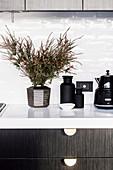 Zimmerpflanze, Apothekerflaschen und Kaffeekanne auf Küchenunterschrank