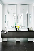 Two vertical mirrors on the double washbasin