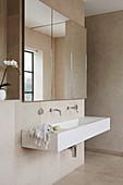 Three-part mirror above the rectangular double sink