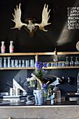 Treibhölzer arrangiert in Zinkeimer dekoriert mit Blumen auf Küchentheke