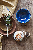 Blue and brew bowls and teapot