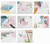 Instruction for making origami bird from painted paper