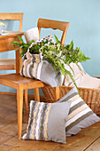 DIY linen bag and cushion covers decorated with fabric strips