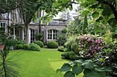 Mediterranean garden with topiary shrubs
