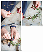 Instructions for making a rosemary circlet