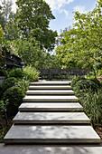 Modern steps leading to terrace in split-level garden