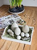 Handmade concrete Easter eggs