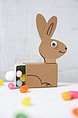 Easter bunny made from matchboxes and paper