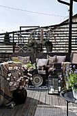 Lavishly decorated, ethnic-style roof terrace