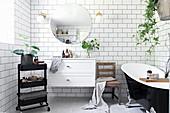 Vintage-style bathroom with white subway tiles