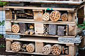 DIY insect hotel made from pallets