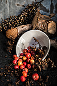 Arrangement of crab apples and dried fruits