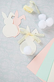 Paper Easter bunnies with lace ribbons