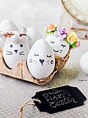 Easter eggs in egg box