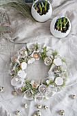 Easter wreath of egg box segments, egg shells and moss