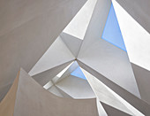 Faceted ceiling with triangular skylights