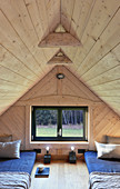 Attic bedroom with twin futons in converted barn