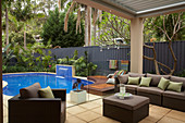 Lounge furniture on the covered terrace by the pool