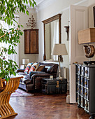 Antique furniture and wooden floor in classic living room