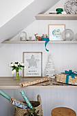 Wall shelf under sloping ceilings