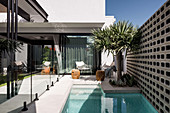 Small courtyard garden with pool at the modern architect's house