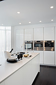 White designer kitchen with island counter and fitted appliances