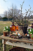 Rural Easter arrangement in the garden
