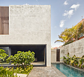 Modern, architect-designed, concrete house with pool and garden