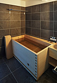 Wooden, Japanese, designer ofuro soaking tub in bathroom