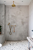 Modern rainfall shower with brass fittings