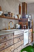 Stylish sink with brass tap