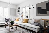 Wohnzimmer im Vintagestil in Grau, Schwarz und Weiß