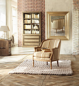 Knitted rug in classic living room in beige