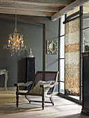 Vintage Viennese-cane chair in elegant living room