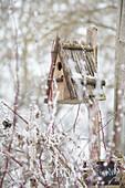 Nesting box in wintry garden