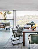 Dining room in natural tones in the architect's house with panoramic views