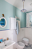 Classic, Mediterranean bathroom in white and blue