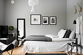 Clear lines and monochrome colour scheme in bedroom