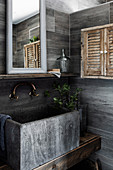 Concrete wash basin in rustic earth-tone bathroom
