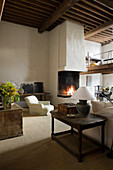 Fireplace in interior of renovated Antwerp house