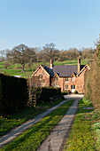 English country house with Victorian gabled façade (Wiltshire, England)