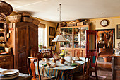 Old wooden furniture in English country house