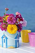Bouquet of dahlias and zinnias