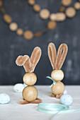 Bunnies handmade from wooden beads