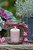 Candle lantern with heather wreath