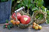 Kleiner Korb mit Äpfeln, Herz als Deko in die Schale geschnitten