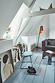 Wooden floor in attic room of renovated Dutch townhouse