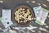 Bowl of beans and seed packets