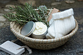 Utensils for treatment with rosemary foot cream