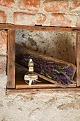 Homemade lavender air freshener in rustic surroundings
